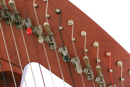 levers: Levers and strings of folk harp close up Stock Photo