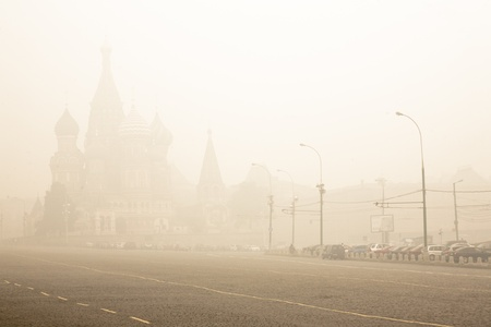 turf: Red Square in smoke of fire peat bogs