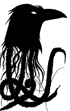 Torn head of a raven and tentacles. Black and white image of a raven`s torn head. Tattoo sketch. Banque d'images