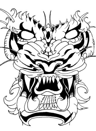 Evil tiger face, graphic image! Tattoo sketch. Banque d'images