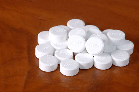 paracetamol: Oral medicine, paracetamol 500 mg.,white pills. Stock Photo