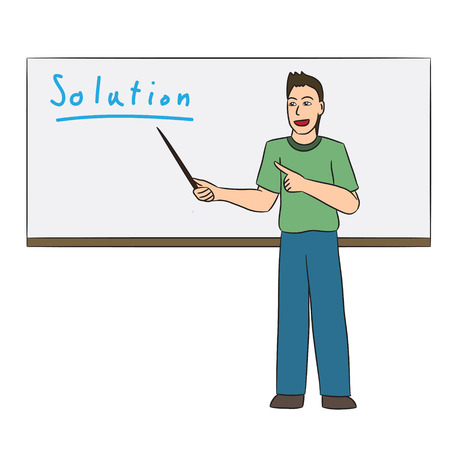 the explanation: vector cartoon character explanation Illustration
