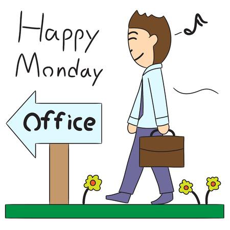 vector cartoon character office entrance
