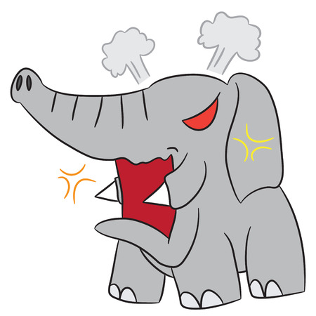angry elephant: vector cartoon character elephant angry
