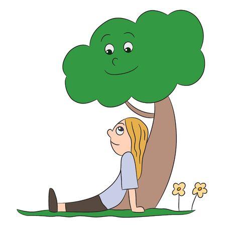 child sitting: vector cartoon character child tree