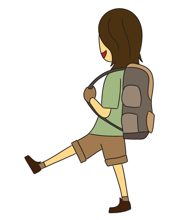 backpacker: vector cartoon character backpacker