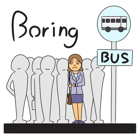 bus stop: vector cartoon character woman bus stop