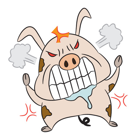 drool: vector cartoon character pig angry