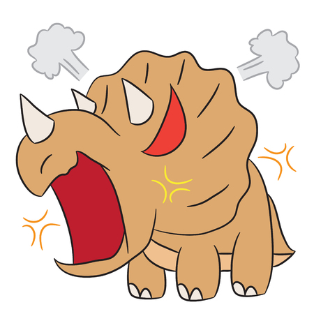triceratops: vector cartoon character triceratops angry Illustration