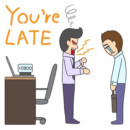 man yelling: vector cartoon character man late Illustration