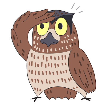 looking: vector cartoon character owl looking Illustration