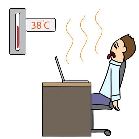 hot seat: vector cartoon character man hot