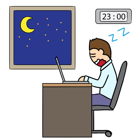overtime: vector cartoon character man overtime