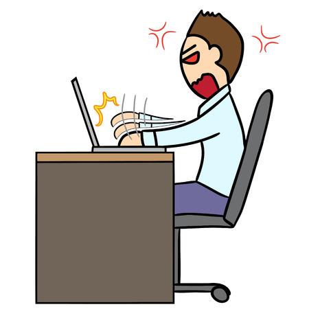 rage: vector cartoon character man rage working