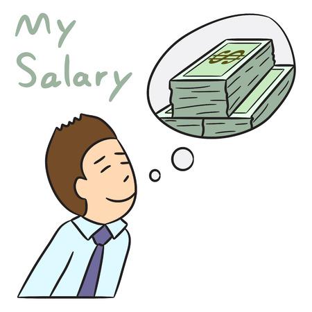 monthly salary: vector cartoon character man salary