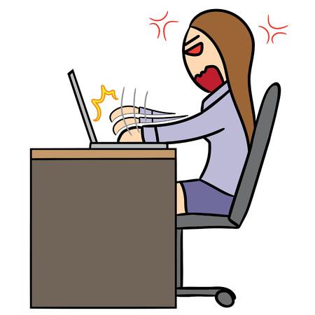 rage: vector cartoon character woman rage working