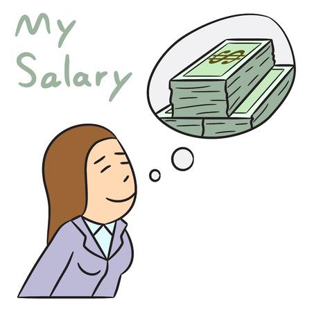 salary: vector cartoon character woman salary
