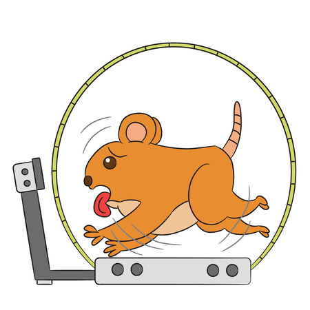 Vektor-Cartoon-Charakter Hamster Übung