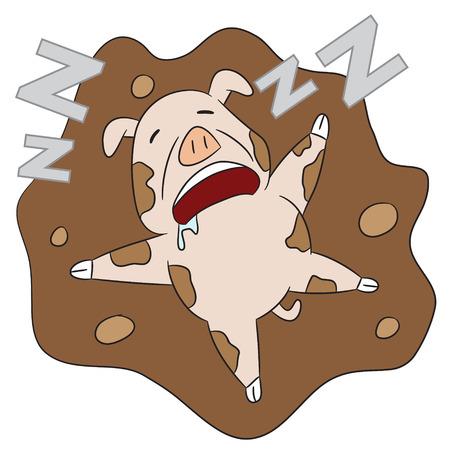 snoring: vector cartoon character pig sleeping