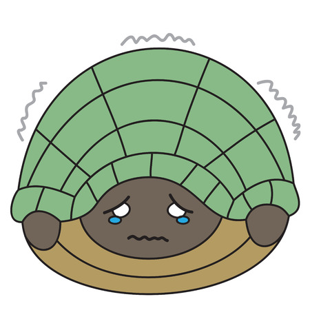timid: vector cartoon character turtle scared Illustration