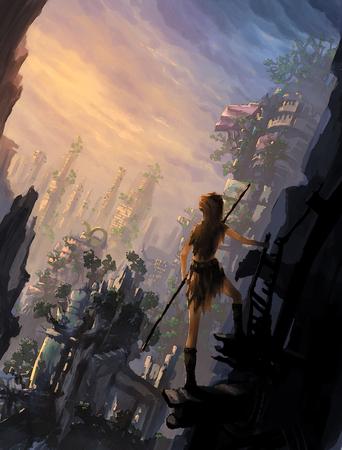 illustration digital painting city ruined