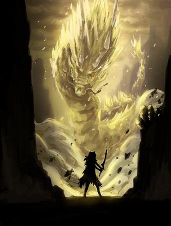 fantasia: ilustração pintura digital de luta dragão guerreiro