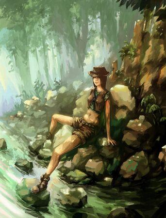 river water: illustration digital painting jungle andenture