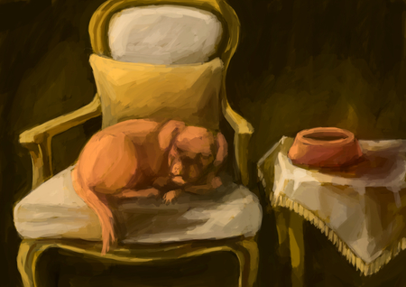 dog sleeping: illustration digital painting dog sleeping Stock Photo