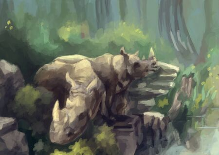wild animal: illustration digital painting wild rhinoceros