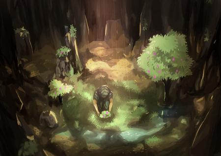 peinture rupestre: illustration peinture numérique oasis grotte