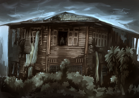 ghost house: illustration digital painting ghost house