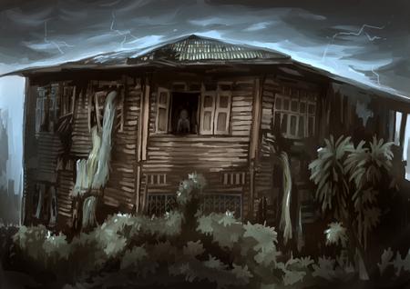 thriller: illustration digital painting ghost house
