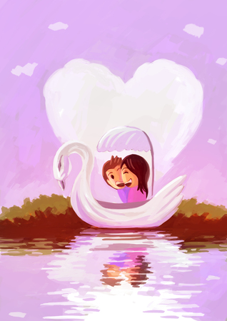 relationship love: illustration digital painting couple swan boat