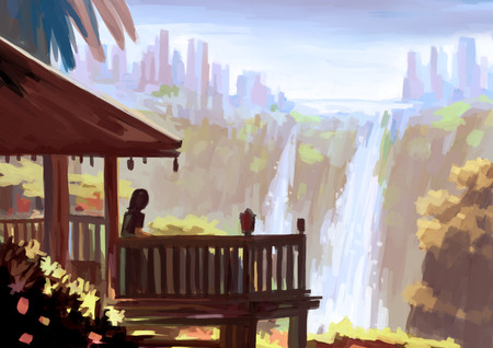waterfall: illustration digital painting waterfall view