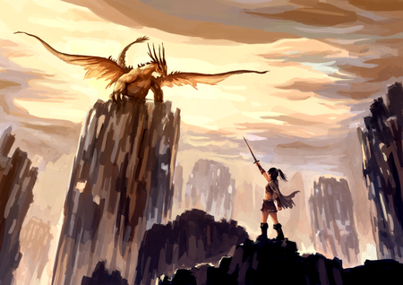illustration digital painting dragon hunting Standard-Bild