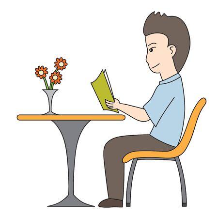 man reading: vector cartoon character man reading book