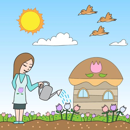 house wife: vector cartoon character woman watering Illustration