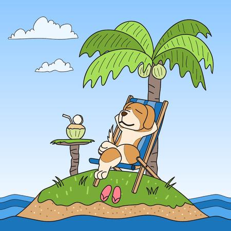 cartoon dog: cartoon character dog on island Illustration