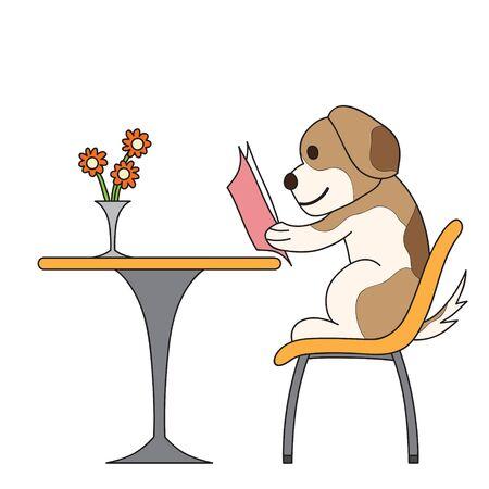 cartoon dog: cartoon character dog reading book