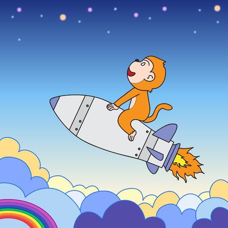 flying monkey: cartoon character monkey riding rocket Illustration