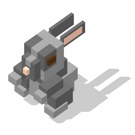 rabbit standing: isometric rectangle design rabbit standing