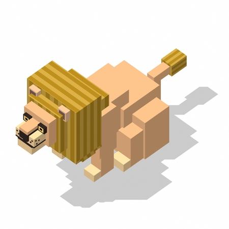 3d lion: isometric rectangle design lion sitting Stock Photo