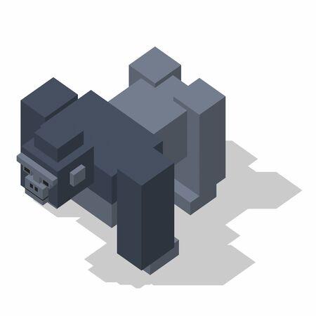 the rectangle: isometric rectangle design gorilla standing Stock Photo