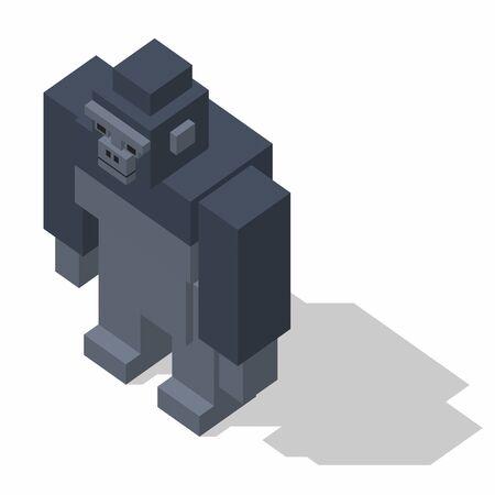 rectangle: isometric rectangle design gorilla standing Stock Photo