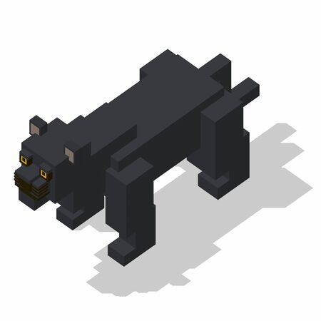 rectangle: isometric rectangle design panther standing