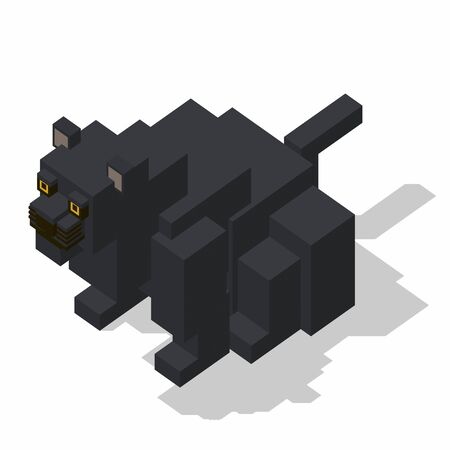 rectangle: isometric rectangle design panther sitting Stock Photo