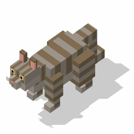 rectangle: isometric rectangle design cat standing