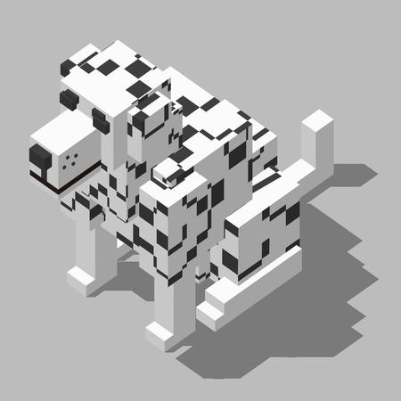 dalmatian: isometric rectangle design dalmatian sitting