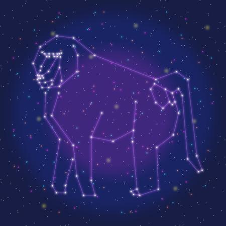 baboon: asterism design purple baboon Illustration