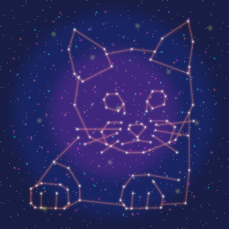 asterism: asterism design orange cat Illustration